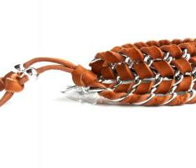 Leather Chain Chevron Bracelet Deerskin Chain Cuff