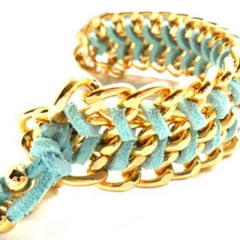 Chunky Gold Chain Mint Chevron leather Bracelet pastel fashion Curved Chain Bracelet
