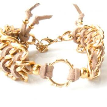 Chevron leather Bracelet Gold circle Curved Chain Bracelet Cuff Bracelet