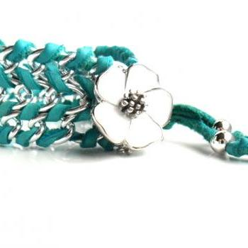 Turquoise Leather Chain Bracelet Enamel Flower. Deerskin chain cuff Teal Summer 2013